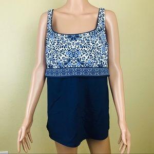 LANDS END Blue Takini Bikini Swim Top Size 18